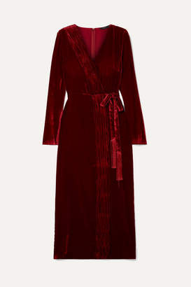 Rachel Zoe Aly Gathered Wrap-effect Velvet Dress - Burgundy
