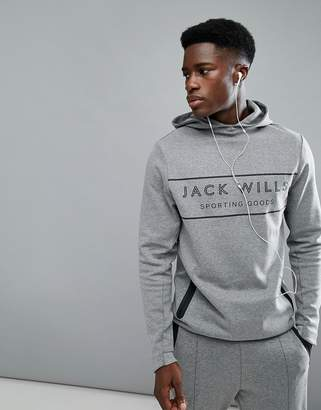 Jack Wills Sporting Goods Esmond Hoodie In Gray