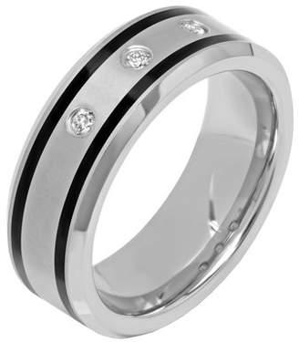 Brilliance+ Brilliance Fine Jewelry 1/10ctw Men's Tungsten and Black Resin 8MM Diamond Accent Wedding Band