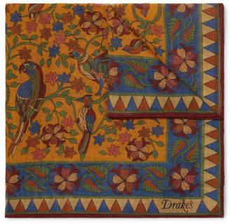 Drakes Drake's Printed Wool And Silk-Blend Pocket Square