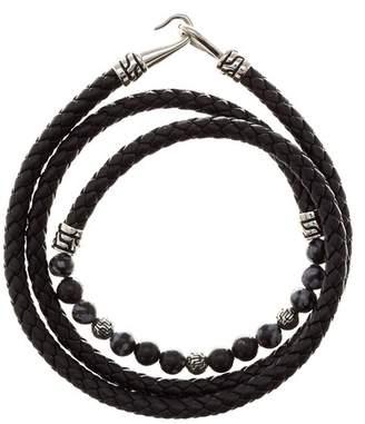 Jean Claude Snowflake Obsidian Braided Black Leather Wrap Bracelet