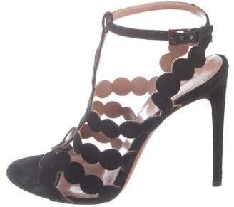 Alaia Laser Cut Suede Sandals