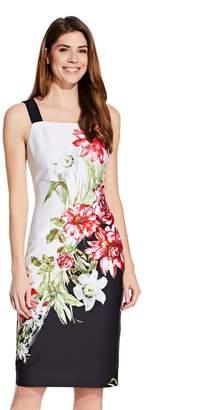 Adrianna Papell Womens White Scuba Printed Sheath Dress - White