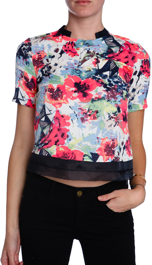 COOPER & ELLA Short Sleeve Floral Top