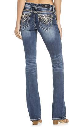 Miss Me Women's Sunburst Embellished Pocket Mid-Rise Boot Cut Jeans