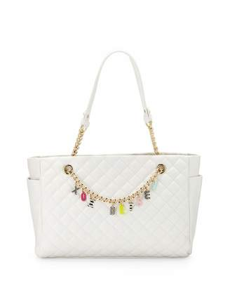 Betsey Johnson Give Me A B Quilted Satchel Bag, White $95 thestylecure.com