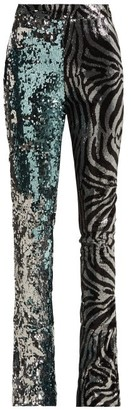 Halpern Sequined Slim Leg Flared Trousers - Womens - Light Blue