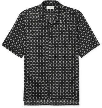 Saint Laurent Printed Silk Crepe de Chine Shirt - Black
