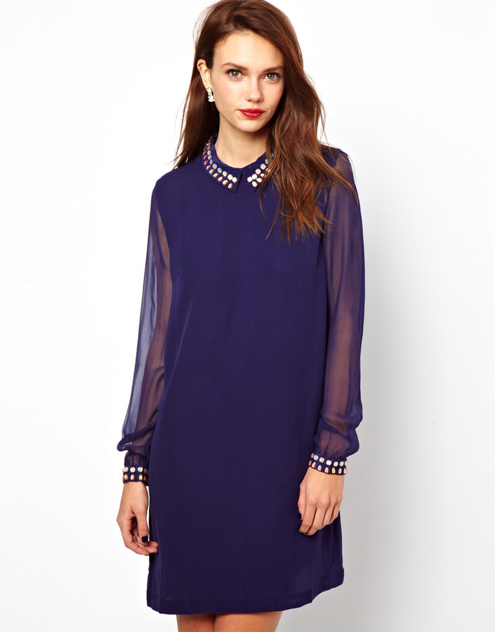 French Connection Silk Dress With Embellished Collar