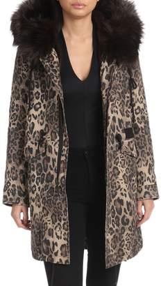 AVEC LES FILLES Faux-Fur Leopard Printed Hooded Parka