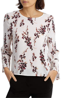 Miss Shop Pleated Sleeve Statement Top - Watercolour Bud