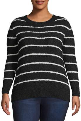 Vince Camuto Plus Long-Sleeve Stripes Sweater