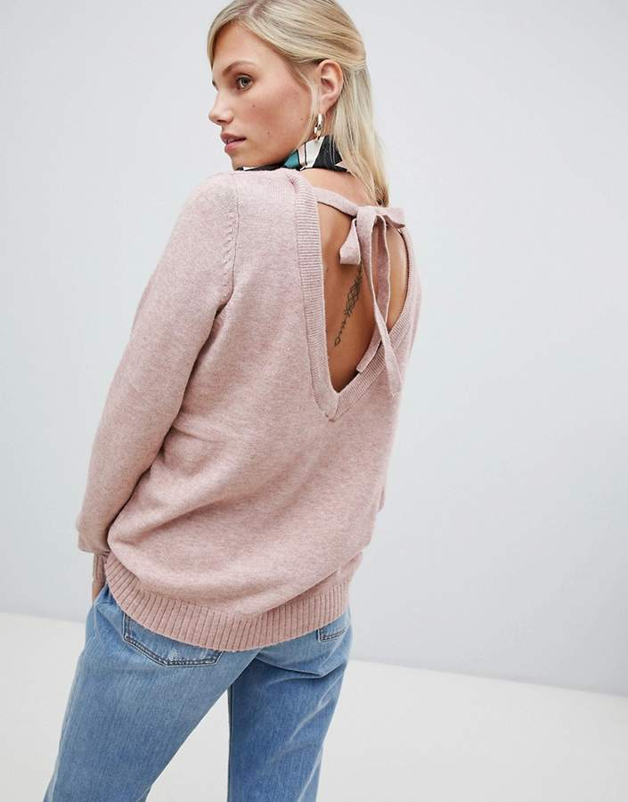 Vila soft knitted sweater with v back