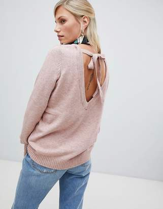 Vila soft knitted sweater with deep v back