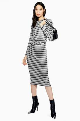 Topshop Stripe Ruched Midi Dress