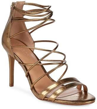 Halston Women's Metallic Strappy Leather Sandals