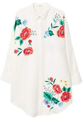 MANGO Floral embroidered shirt