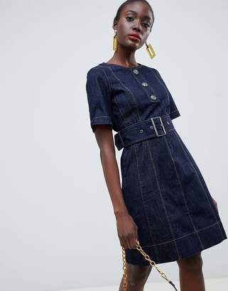Warehouse tie waist mini dress in dark blue denim