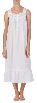 Eileen West Long Sleeveless Lace-Trimmed Nightgown