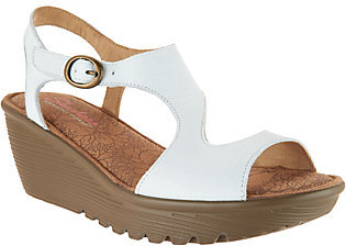 Skechers Leather Open Toe Cut-out Wedges - Structure $49.98 thestylecure.com