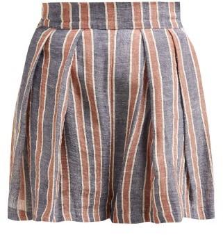 Three Graces London - Kilman Striped Linen Blend Shorts - Womens - Navy Stripe