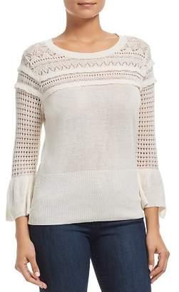Heather B Pointelle Bell-Sleeve Sweater