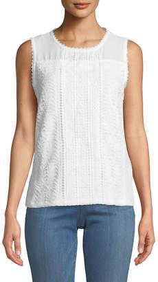 Karl Lagerfeld Paris Lace Knit Sleeveless Blouse