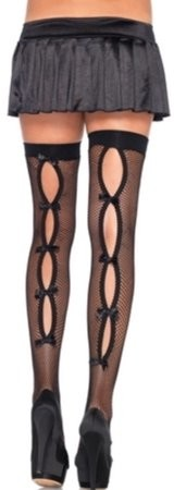 Women's Bow Back Seam Thigh High Stockings, Black, One Size
