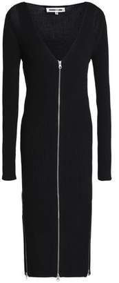 McQ Cutout Zip-Detailed Ribbed-Knit Midi Dress