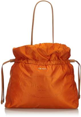 Prada Orange Nylon Drawstring Shopper Tote Bag