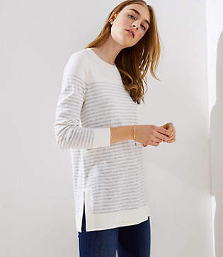 LOFT Petite Striped Side Slit Tunic Sweater