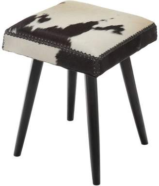 Generic Harley Cowhide & Mahogany Accent Stool