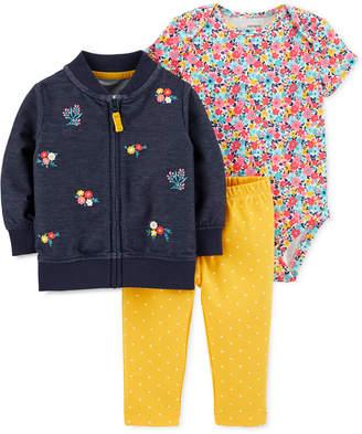 Carter's Baby Girls 3-Pc. Floral Bomber Jacket, Printed Bodysuit & Pants Set