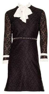 Sandro Horse Lace Tie-Neck Mini Dress