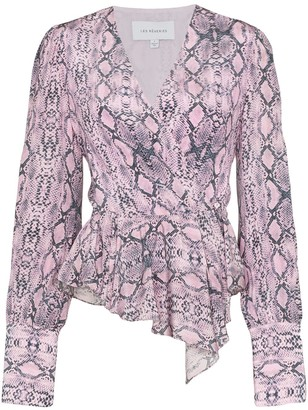 Les Rêveries snake print draped blouse