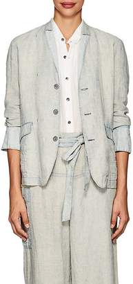 Pas De Calais Women's Micro-Checked Linen Three-Button Blazer