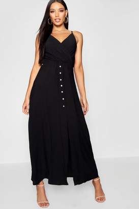 boohoo Button Through Split Shirred Waist Maxi Dress