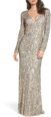 Mac Duggal Beaded Long Sleeve Gown