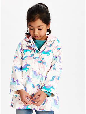 John Lewis & Partners Girls' Unicorn Print Mac Jacket, Multi