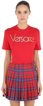 Versace Logo Printed Cotton Jersey T-Shirt