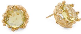 Made In Bali Plated Sterling Silver Lemon Quartz Earrings