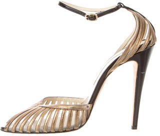 Brian Atwood Teresa Metallic Peep-Toe Pumps $130 thestylecure.com