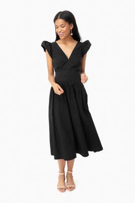 Rebecca Taylor La Vie By Black Sleeveless Poplin V-Neck Dress