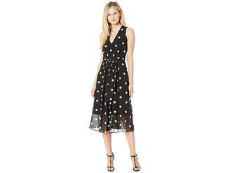 Anne Klein Printed GGT V-Neck Midi Dress