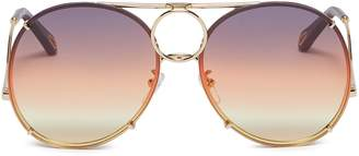 Chloé 'Vicky' interchangeable lenses metal aviator sunglasses