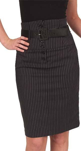 Pinstripe High Waist Skirt