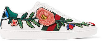 Gucci Ace Watersnake-trimmed Appliquéd Leather Sneakers - White