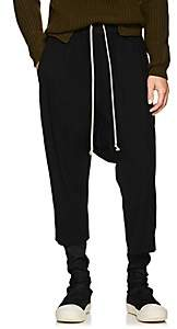 Rick Owens Men's Drawstring-Waist Virgin Wool Crop Trousers - Black