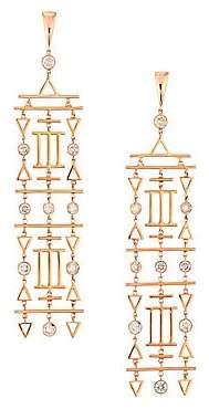 Etho Maria Women's Geometric 18K Rose Gold & Brown Diamond Chandelier Earrings