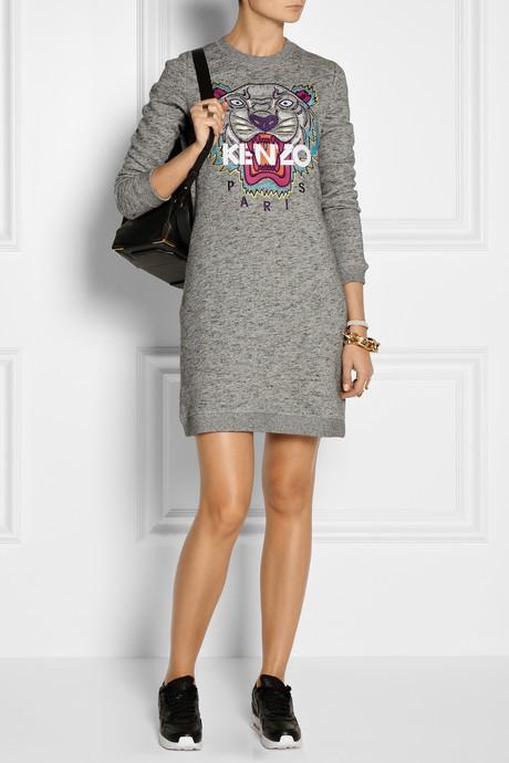 Kenzo Tiger embroidered cotton sweatshirt dress